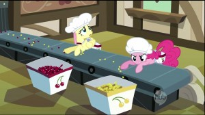 My Little Pony:  Friendship is Magic - The Last Roundup - Fluttershy and Pinkie Pie sorting cherries parody of I Love Lucy Chocolate factory scene
