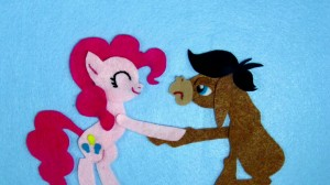 My Little Pony: Friendship is Magic - Felt Pinkie Pie and Cranky Doodle Donkey shaking hands