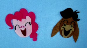 My Little Pony: Friendship is Magic - Felt Pinkie Pie and Cranky Doodle Donkey smiling