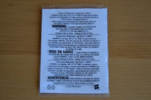 My Little Pony McDonald's 2012 Happy Meal toys - Back of the bag