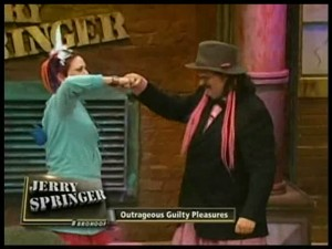 Autumin and Tim share a Bro Hoof on Jerry Springer