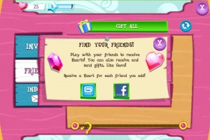 My Little Pony: Friendship is Magic mobile phone game - Spam your friends to get hearts!
