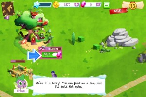 My Little Pony: Friendship is Magic mobile phone game - Spike suggests you spend a gem on that